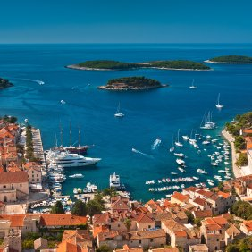 Harbor of old Adriatic island town Hvar. High angle view. Popular touristic destination of Croatia.