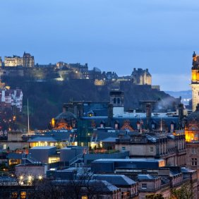 14882431 - edinburgh castle with cityscape from calton hill at dusk scotland uk