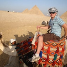 camel back at the pyramids