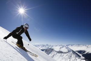 Male skier with mountain view in Davos, Switzerland
